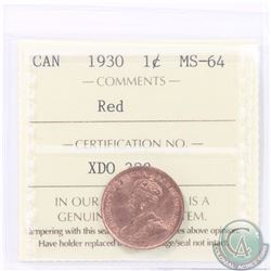 1-cent 1930 ICCS Certified MS-64 RED. Tied for the 2nd highest grade by ICCS.