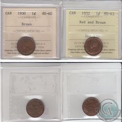 1-cent 1930 ICCS Certified MS-60 Brown & 1932 ICCS Certified MS-63 Red/brown. 2pcs