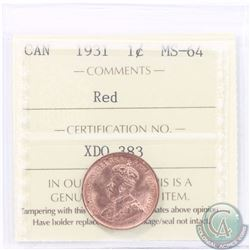 1-cent 1931 ICCS Certified MS-64 RED. A bright lustrous Red. Tied for the 2nd highest by ICCS!