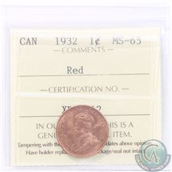 1-cent 1932 ICCS Certified MS-65 RED. A nice choice coin with great eye appeal, rare in Mint State C