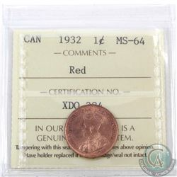 1-cent 1932 ICCS Certified MS-64 Red