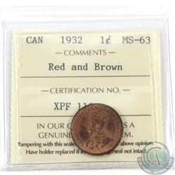 1-cent 1932 ICCS Certified MS-63 Red & Brown