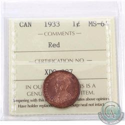 1-cent 1933 ICCS Certified MS-64 Red