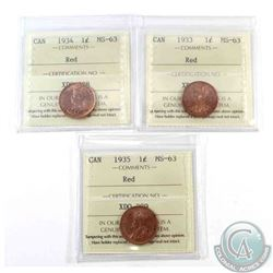 1-cent 1933, 1934 & 1935 ICCS Certified MS-63 Red. 3pcs