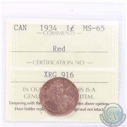 1-cent 1934 ICCS Certified MS-65 RED. Tied for the 2nd highest grade by ICCS only 4 ever graded high