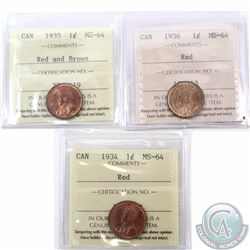 1-cent 1934, 1935, & 1936 All ICCS Certified MS-64. A nice Mint State Group Lot of the last 3 years