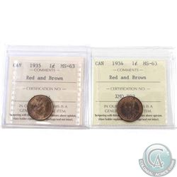1-cent 1934 & 1935 ICCS Certified MS-63 Red & Brown. 2pcs