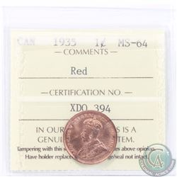 1-cent 1935 ICCS Certified MS-64 RED. A bright flashy Coin!
