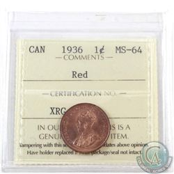1-cent 1936 ICCS Certified MS-64 Red