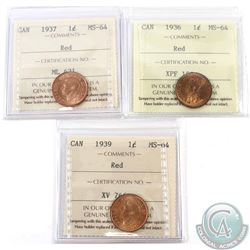1-cent 1936, 1937 & 1939 ICCS Certified MS-64 Red. 3pcs
