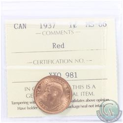 1-cent 1937 ICCS Certified MS-66 RED. A near flawless coin with satin Fields of full original deep o