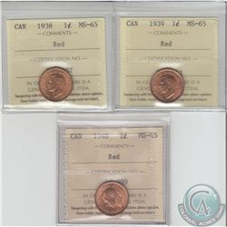 1-cent 1938, 1939 & 1940 ICCS Certified MS-65. 3pcs