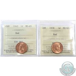 1-cent 1938 & 1940 ICCS Certified MS-65 Red. 2pcs