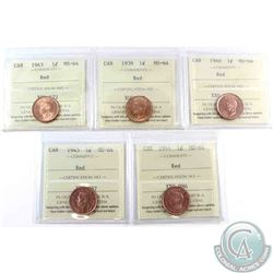 1-cent 1938, 1943, 1944, 1945 & 1946 ICCS Certified MS-64 Red. 5pcs