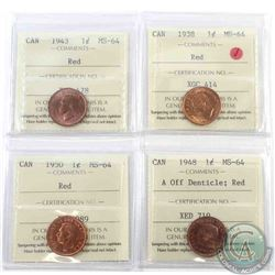 1-cent 1938, 1943, 1948 A off Denticle & 1950 ICCS Certified MS-64 Red. 4pcs