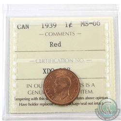 1-cent 1939 ICCS Certified MS-66 Red. Tied for the finest known.