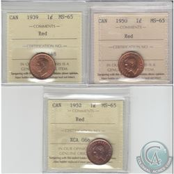 1-cent 1939, 1950 & 1952 ICCS Certified MS-65. 3pcs