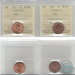 1-cent 1941 & 1942 ICCS Certified MS-64. 2pcs