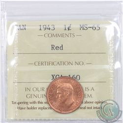 1-cent 1943 ICCS Certified MS-65. Tied for finest known by ICCS.
