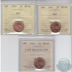 1-cent 1943 MS-64, 1947 & 1949 A off Denticle ICCS Certified MS-65. 3pcs