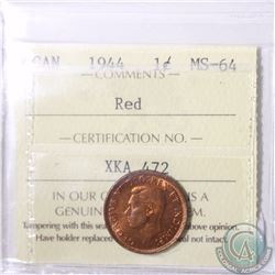1-cent 1944 ICCS Certified MS-64 Red. Nice cleaned Fields with beautiful rainbow toning.