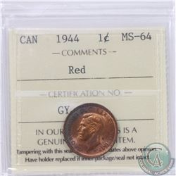 1-cent 1944 ICCS Certified MS-64 Red