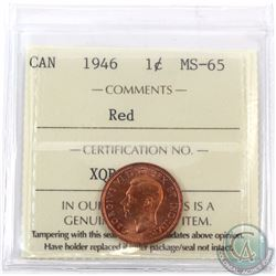 1-cent 1946 ICCS Certified MS-65 Red