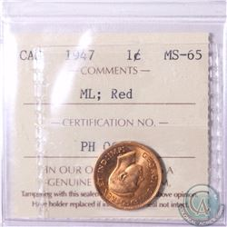 1-cent 1947 Maple leaf ICCS Certified MS-65 Red