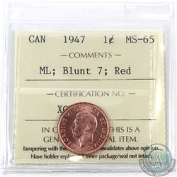 1-cent 1947 Maple Leaf, Blunt 7 ICCS Certified MS-65 Red