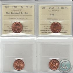 1-cent 1947 & 1947 Maple Leaf Pointed 7 ICCS Certified MS-65. 2pcs
