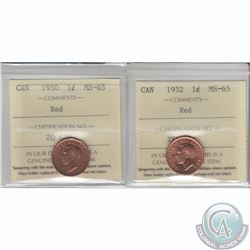 1-cent 1950 & 1952 ICCS Certified MS-65. 1950 is tied for the finest known. 2pcs