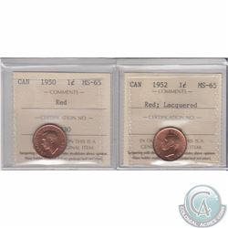 1-cent 1950 & 1952 Lacquered ICCS Certified MS-65. 2pcs