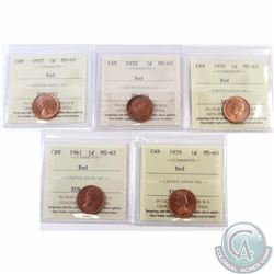 1-cent 1950, 1952, 1957, 1959 & 1961 ICCS Certified MS-65. 5pcs