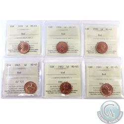 1-cent 1950, 1956, 1959, 1961, 1962 & 1963 ICCS Certified MS-65. 6pcs