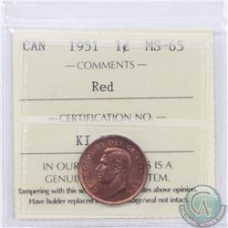1-cent 1951 ICCS Certified MS-65