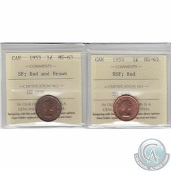 1-cent 1953 ICCS Certified NSF MS-65 & SF MS-63 Red/Brown. 2pcs