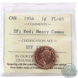 1-cent 1954 SF ICCS Certified PL-65 Red, Heavy Cameo