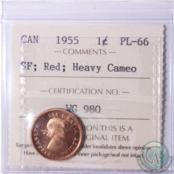 1-cent 1955 SF ICCS Certified PL-66 Red; Heavy Cameo