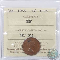 1-cent 1955 NSF ICCS Certified F-15. A medium chocolate brown colour with 1 dark spot on the obverse