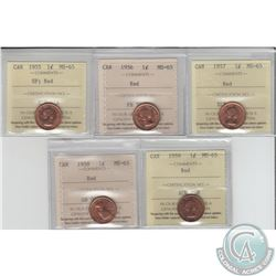 1-cent 1955 SF, 1956, 1957, 1958 & 1959 ICCS Certified MS-65. 5pcs