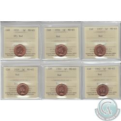 1-cent 1955 SF, 1956, 1957, 1959, 1960 & 1962 ICCS Certified MS-65. 6pcs