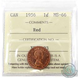 1-cent 1956 ICCS Certified MS-66 RED! Tied for the Highest Grade by ICCS POP=5! A vibrant Red coin w