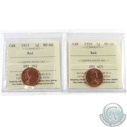 1-cent 1957 & 1959 ICCS Certified MS-66 Red. Both are tied for finest known. 2pcs