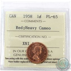 1-cent 1958 ICCS Certified PL-65 Red; Heavy Cameo