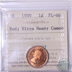 1-cent 1959 ICCS Certified PL-66 Red; Ultra Heavy Cameo