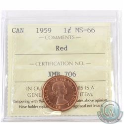 1-cent 1959 ICCS Certified MS-66 Red. Tied for the finest known by ICCS.