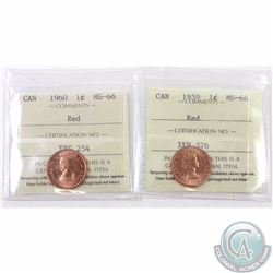 1-cent 1959 & 1960 ICCS Certified MS-66 Red. Both are tied for finest known. 2pcs