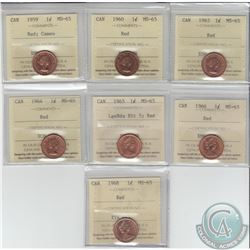 1-cent 1959 Cameo, 1960, 1963, 1964, 1965 LgeBds Blt 5, 1966 & 1968 ICCS Certified MS-65.7pcs