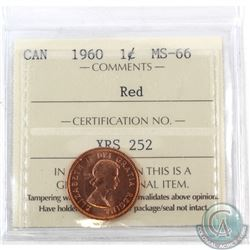 1-cent 1960 ICCS Certified MS-66 Red. Tied for the finest known by ICCS