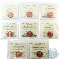 1-cent 1961, 1963, 1964, 1965 Large Beads Blunt 5 (No Cameo), 1966, 1967, 1968 & 1969 ICCS Certified